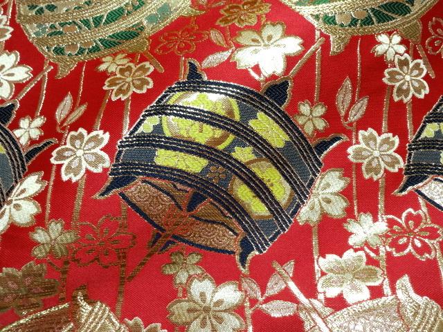 京西陣・金襴 生地 糸巻文(赤)  (和柄 和風 衣装 生地)