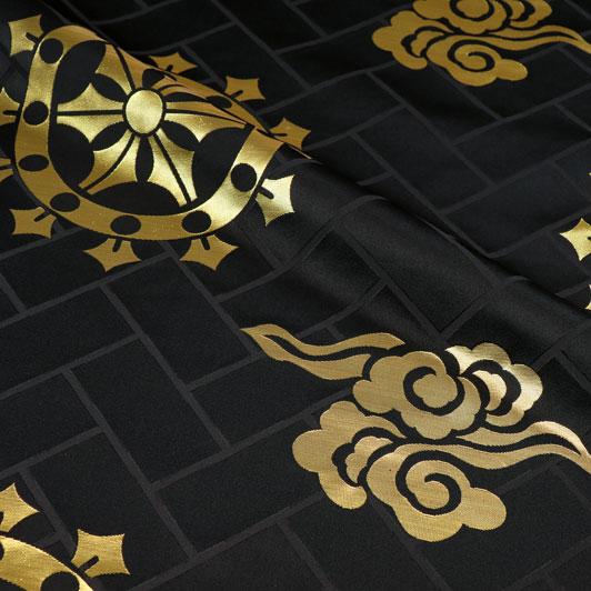 京都西陣織・金襴 生地 輪宝 大(黒・金) 生地巾78cm×長さ36cm単位 切り売り