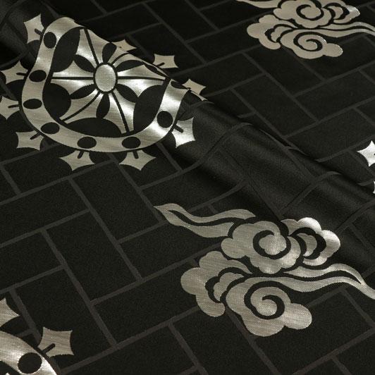 京都西陣織・金襴 生地 輪宝 大(黒・銀) 生地巾78cm×長さ36cm単位 切り売り