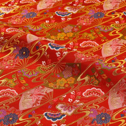 京都西陣織・金襴生地 扇流し(赤) 10cm単位 切り売り