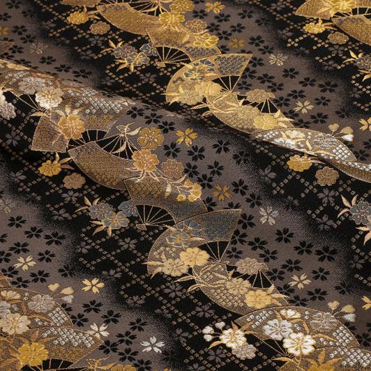 京都西陣織・金襴生地 扇面に小桜 (黒) 10cm単位 切り売り