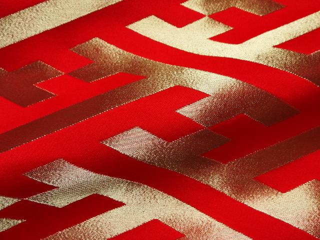 京西陣・金襴生地 大紗綾形 (赤) 10cm単位 切り売り / 和柄 和風 衣装 生地