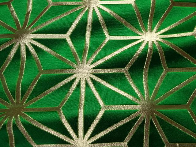 京西陣・金襴 生地 麻の葉(緑・金) (和柄 和風 衣装 生地)