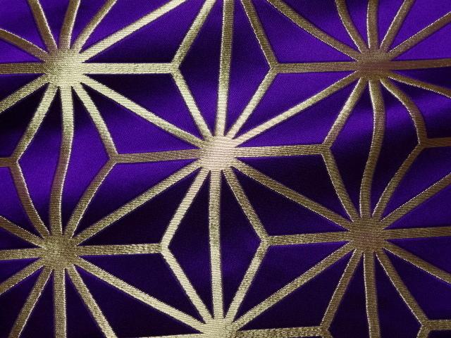 京西陣・金襴生地 麻の葉(紫・金) (和柄 和風 衣装 生地)