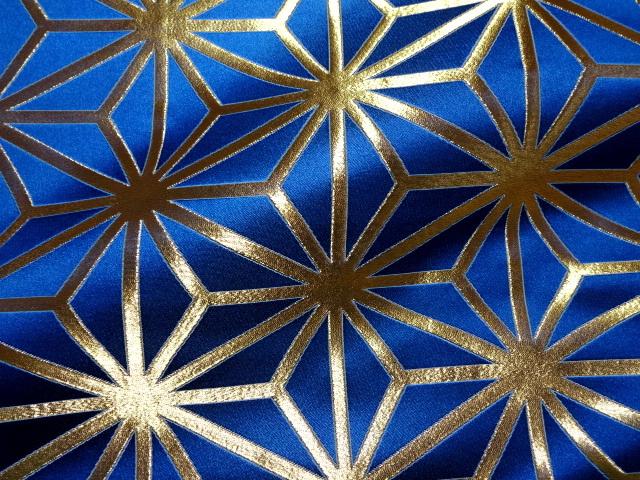 京西陣・金襴生地 麻の葉 (青) 10cm単位 切り売り / 和柄 和風 衣装 生地