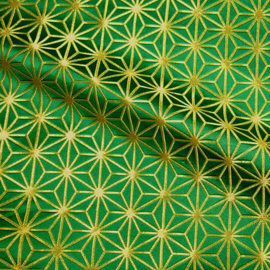 京都西陣織・金襴生地 麻の葉・小(緑・金) 10cm単位 切り売り