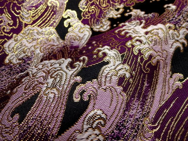 京西陣・金襴生地 荒磯 (紫)  10cm単位 切り売り / 和柄 和風 衣装 生地
