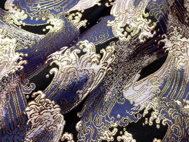 京西陣・金襴生地 荒磯 (青)  10cm単位 切り売り / 和柄 和風 衣装 生地
