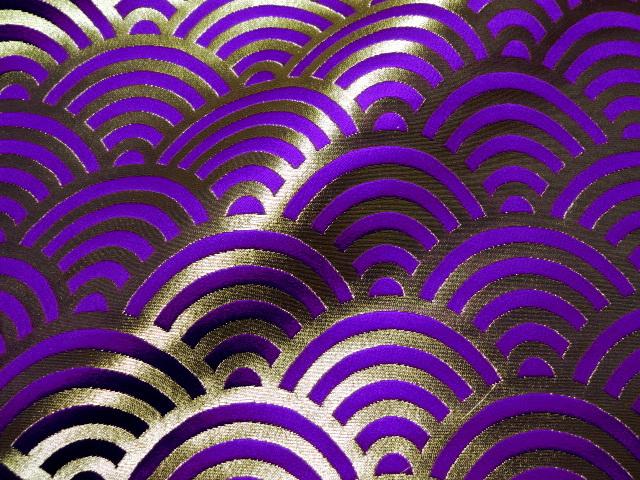 京西陣・金襴生地 青海波文・小 (紫) 10cm単位 切り売り / 和柄 和風 衣装 生地