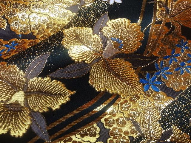 京西陣・金襴生地 黄金流水文に蘭 (和柄 和風 衣装 生地)
