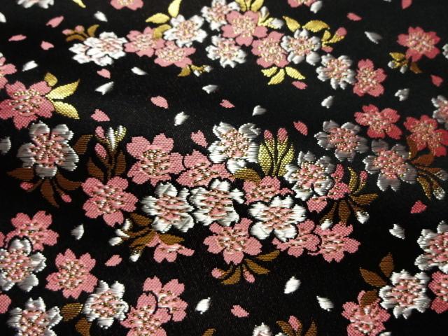 金襴織物 雅桜 黒 (和柄 和風 衣装 生地)