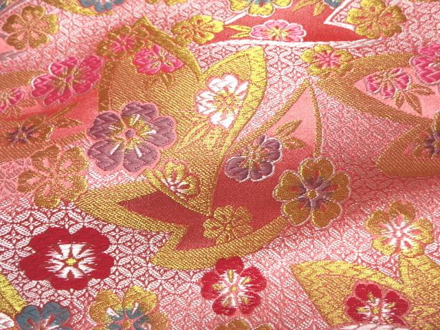 京西陣・金襴生地 七宝地文に桜 (桃) 10cm単位 切り売り / 和柄 和風 衣装 生地