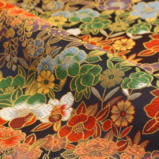 京都西陣織・金襴生地 花椿(紺) 10cm単位 切り売り 和柄 和風生地 はぎれ 布地 きんらん よさこい