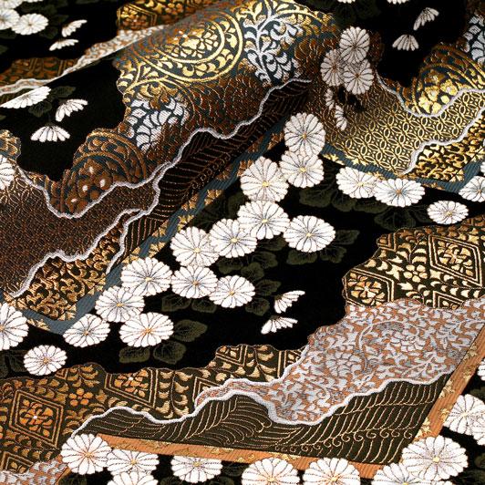 京都西陣織・金襴生地 山型地菊花文(黒) 10cm単位 切り売り 和柄 和風生地 はぎれ 布地 きんらん よさこい 刀ミュ