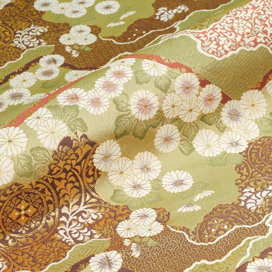 京都西陣織・金襴生地 山型地菊花文(利休白茶) 10cm単位 切り売り 和柄 和風生地 はぎれ 布地 きんらん よさこい