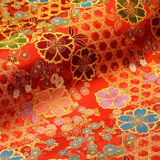 京西陣・金襴生地 籠目垣に八重桜(赤) 10cm単位 切り売り 和柄 和風生地 はぎれ 布地 きんらん よさこい