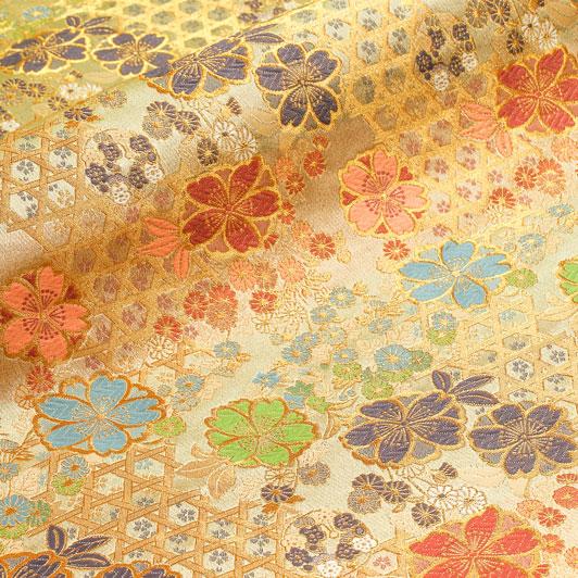 京西陣・金襴生地 籠目垣に八重桜(桑染め) 10cm単位 切り売り 和柄 和風生地 はぎれ 布地 きんらん よさこい