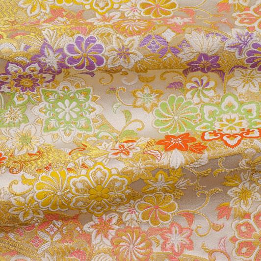 京西陣・金襴生地 のしに花唐草(白) 10cm単位 切り売り 和柄 和風生地 はぎれ 布地 きんらん よさこい