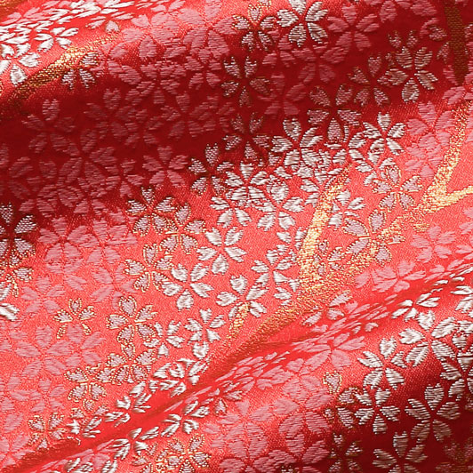 京西陣・金襴生地 枝桜(唐紅) 10cm単位 切り売り 和柄 和風生地 はぎれ 布地 きんらん よさこい