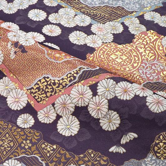 京都西陣織・金襴生地 山型地菊花文(藤) 10cm単位 切り売り 和柄 和風生地 はぎれ 布地 きんらん よさこい