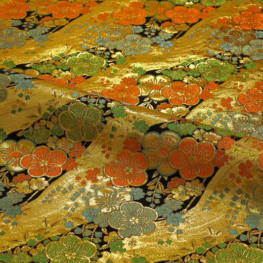 京西陣・金襴生地 梅に金波 10cm単位 切り売り 和柄 和風生地 はぎれ 布地 きんらん よさこい