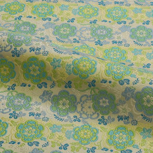 京西陣・金襴生地 蔓華文(白緑) 10cm単位 切り売り 和柄 和風生地 はぎれ 布地 きんらん よさこい