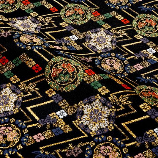 京都西陣織・金襴生地 稲妻小華文 10cm単位 切り売り 和柄 和風生地 はぎれ 布地 きんらん よさこい