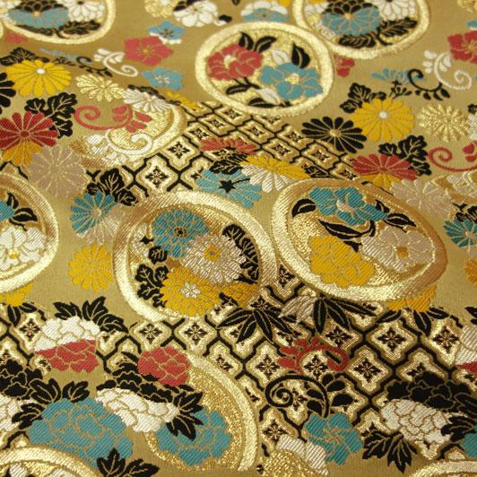 京都西陣織・金襴生地 雅花丸紋 10cm単位 切り売り 和柄 和風生地 はぎれ 布地 きんらん よさこい