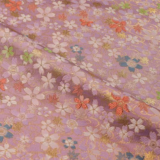 京都西陣織・金襴生地 水面桜(紅藤)  10cm単位 切り売り 和柄 和風生地 はぎれ 布地 きんらん よさこい