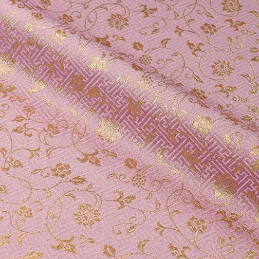 京都西陣織・金襴生地 サヤ型地に花唐草(桃花色) 10cm単位 切り売り 和柄 和風生地 はぎれ 布地 きんらん よさこい