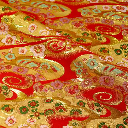 京都西陣織・金襴生地 渦巻き雲に華 10cm単位 切り売り 和柄 和風生地 はぎれ 布地 きんらん よさこい