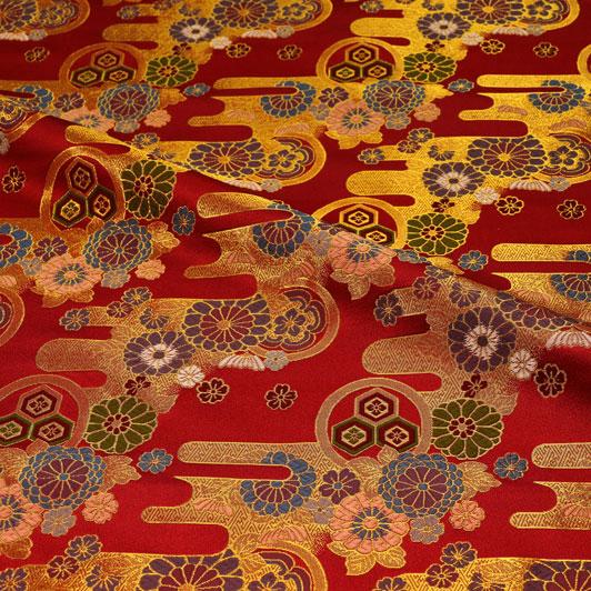 京都西陣織・金襴生地 赤地エ霞菊文 10cm単位 切り売り 和柄 和風生地 はぎれ 布地 きんらん よさこい