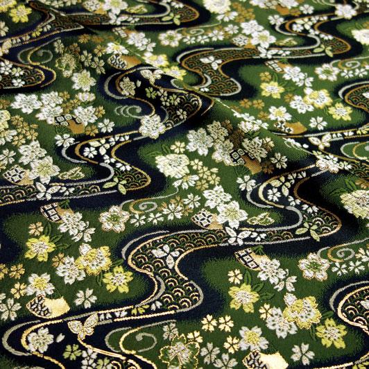 京都西陣織・金襴生地 緑地桜扇文 10cm単位 切り売り 和柄 和風生地 はぎれ 布地 きんらん よさこい