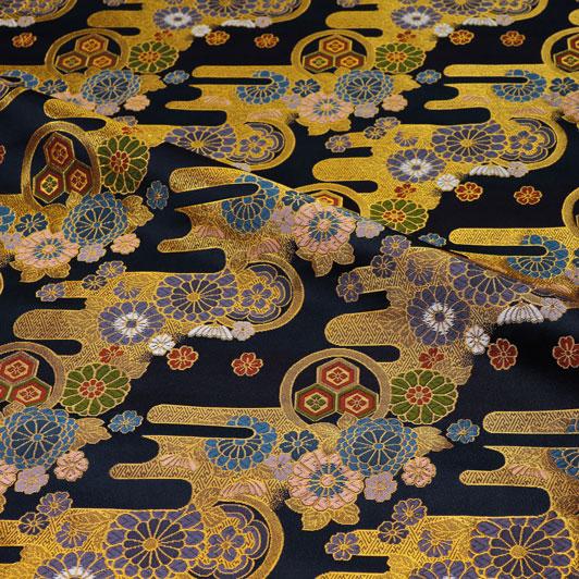京都西陣織・金襴生地 紺地エ霞菊文 10cm単位 切り売り 和柄 和風生地 はぎれ 布地 きんらん よさこい