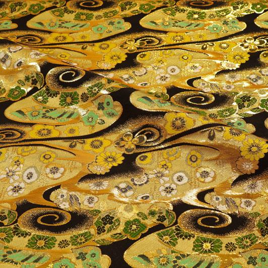 京都西陣織・金襴生地 渦巻き雲に華(黒) 10cm単位 切り売り 和柄 和風生地 はぎれ 布地 きんらん よさこい