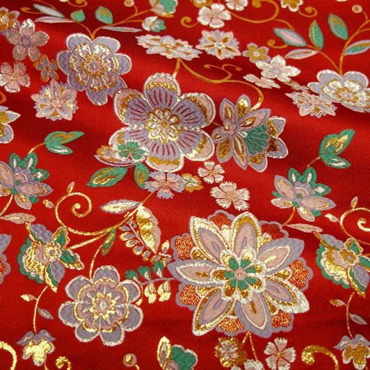 京都西陣織・金襴生地 華文唐草(赤) 10cm単位 切り売り 和柄 和風生地 はぎれ 布地 きんらん よさこい