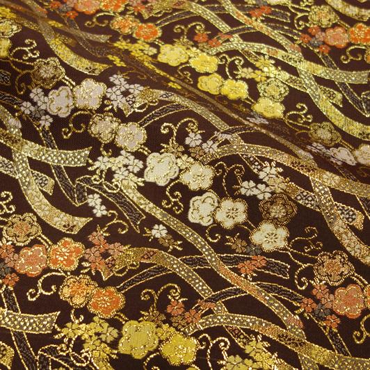 京都西陣織・金襴生地 のし小花(こげ茶) 10cm単位 切り売り 和柄 和風生地 はぎれ 布地 きんらん よさこい