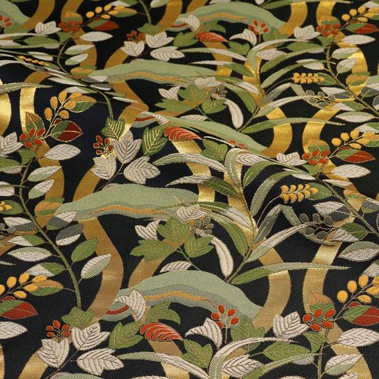 京都西陣織・金襴生地 立涌に萩(紺) 10cm単位 切り売り 和柄 和風生地 はぎれ 布地 きんらん よさこい