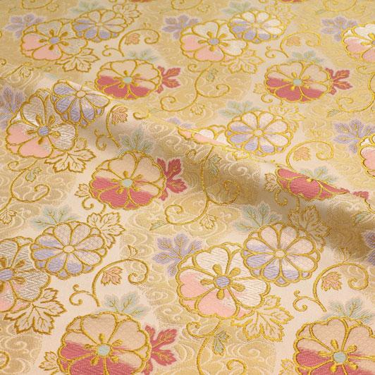 京都西陣織・金襴生地 流水蔓花文(白) 10cm単位 切り売り 和柄 和風生地 はぎれ 布地 きんらん よさこい