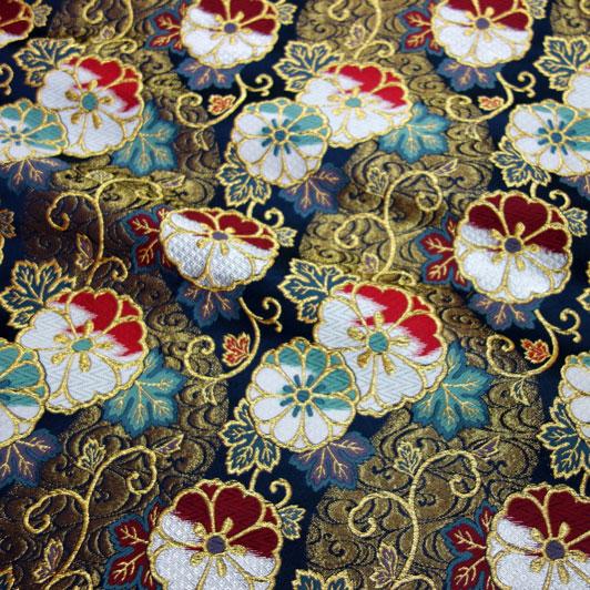 京都西陣織・金襴生地 流水蔓花文(紺) 10cm単位 切り売り 和柄 和風生地 はぎれ 布地 きんらん よさこい