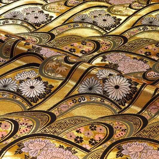 京都西陣織・金襴生地 大波菊牡丹 10cm単位 切り売り 和柄 和風生地 はぎれ 布地 きんらん よさこい