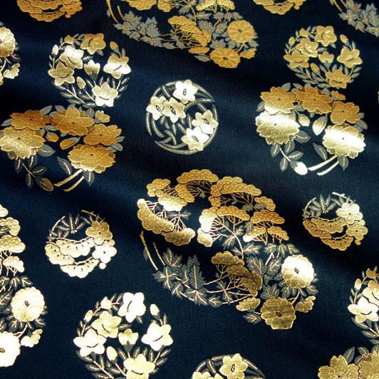 京都西陣織・金襴生地 花の丸文(黒) 10cm単位 切り売り 和柄 和風生地 はぎれ 布地 きんらん よさこい