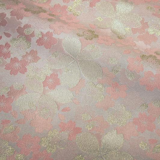 嵯峨野・金襴生地 砂子桜(桃) 10cm単位 切り売り 和柄 和風生地 はぎれ 布地 きんらん よさこい