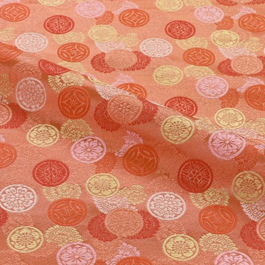 京都西陣織・金襴生地 吉祥丸紋(桃) 10cm単位 切り売り 和柄 和風生地 はぎれ 布地 きんらん よさこい