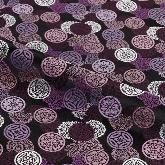 京都西陣織・金襴生地 吉祥丸紋(黒・紫) 10cm単位 切り売り 和柄 和風生地 はぎれ 布地 きんらん よさこい