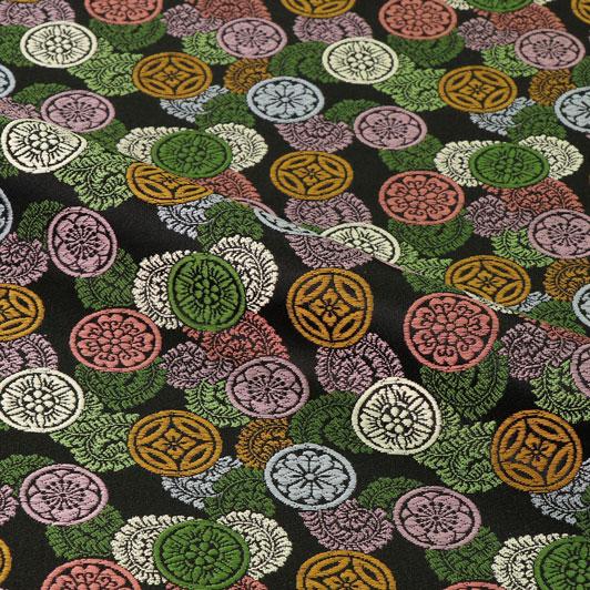 京都西陣織・金襴生地 吉祥丸紋(黒・緑) 10cm単位 切り売り 和柄 和風生地 はぎれ 布地 きんらん よさこい
