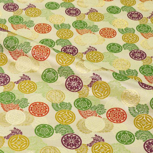 京都西陣織・金襴生地 吉祥丸紋(鳥の子色) 10cm単位 切り売り 和柄 和風生地 はぎれ 布地 きんらん よさこい