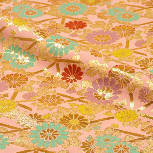 京都西陣織・金襴生地 籬菊(ませぎく) 10cm単位 切り売り 和柄 和風生地 はぎれ 布地 きんらん よさこい