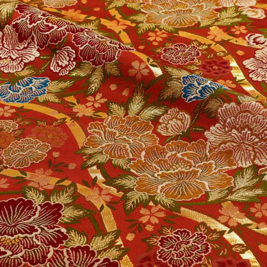 金襴生地 大牡丹 (赤) 10cm単位 切り売り 和柄 和風生地 はぎれ 布地 きんらん よさこい
