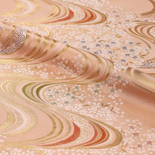 京都西陣織・金襴生地 流水に桜 大(淡桃) 10cm単位 切り売り 和柄 和風生地 はぎれ 布地 きんらん よさこい